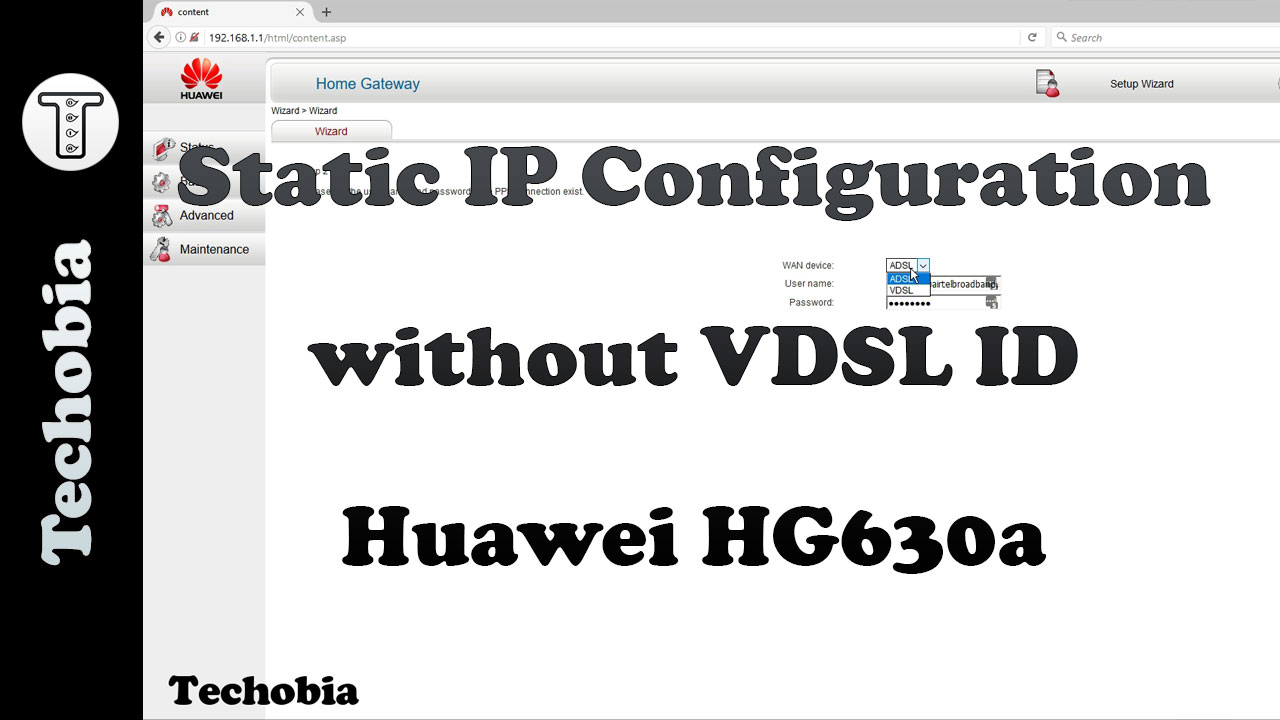 Static IP conf Huawei HG 630a