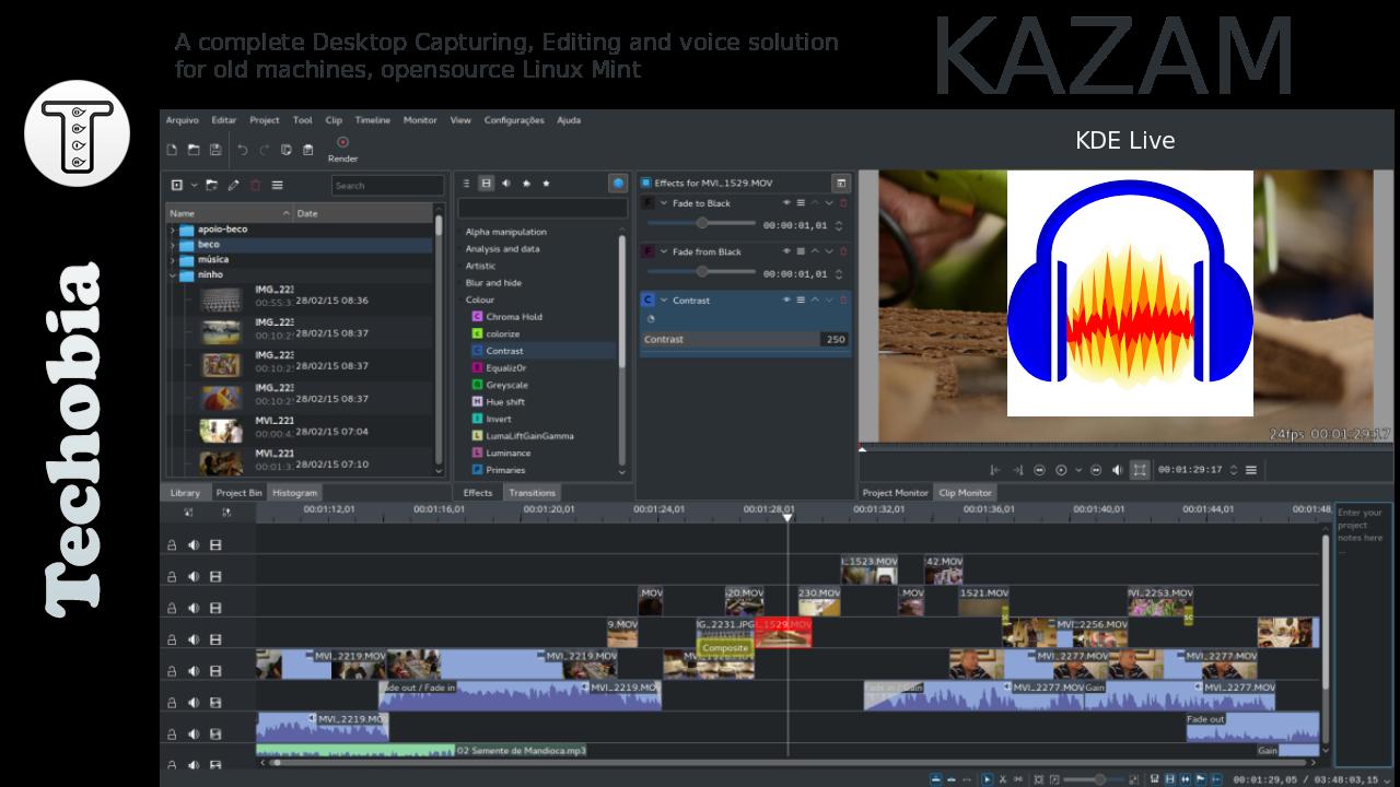 kazam kdenlive audacity shutter mint techobia